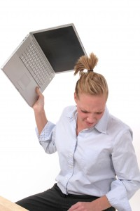Business Woman Throwing Laptop 4