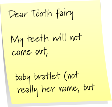 her note to the toothfairy
