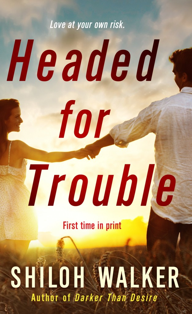 southern romance, cover for headed for trouble, a man offering hand to woman as they look toward the horizon