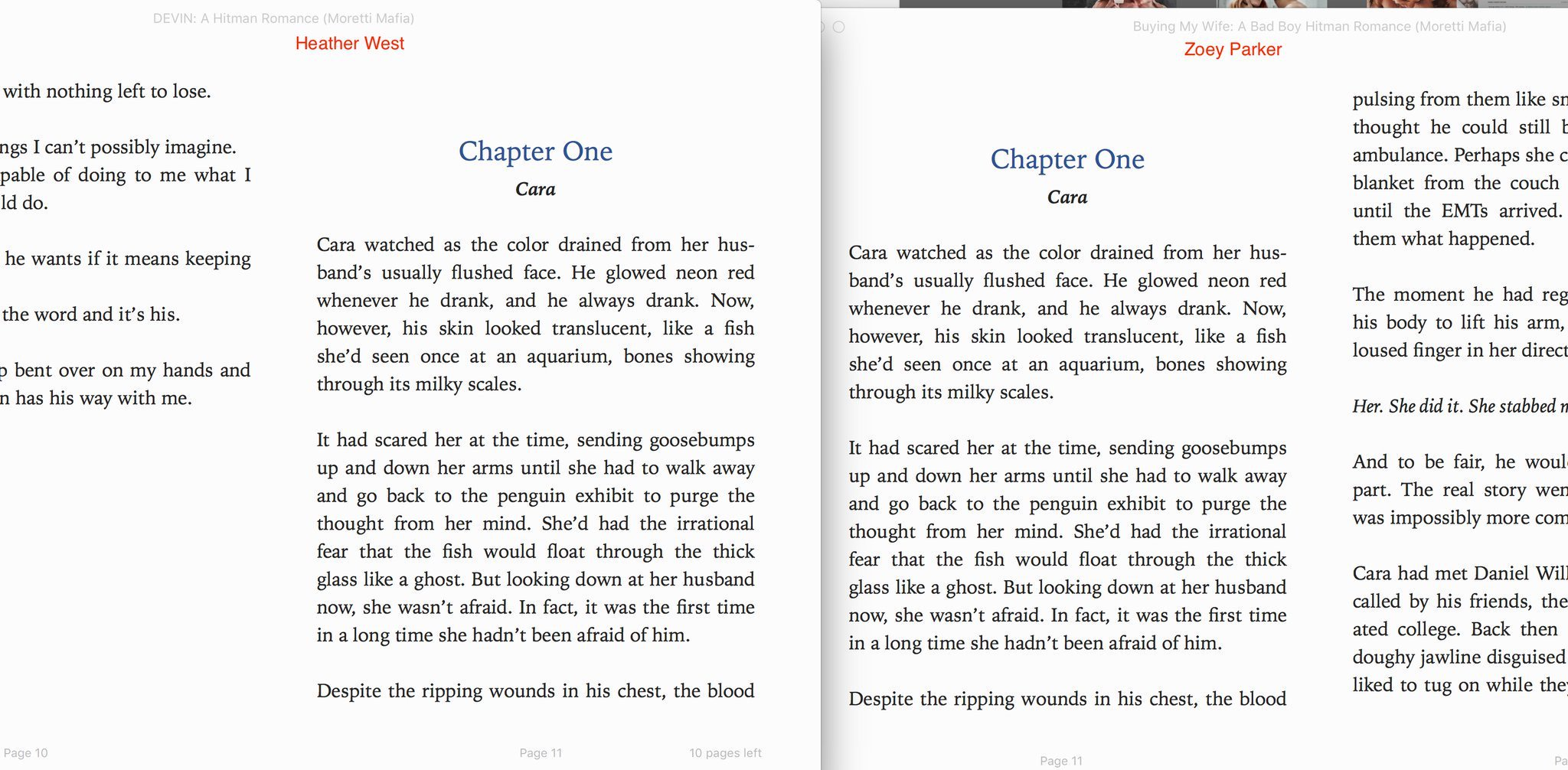 Heather West and Zoey Parker books side by side comparisons - books identical