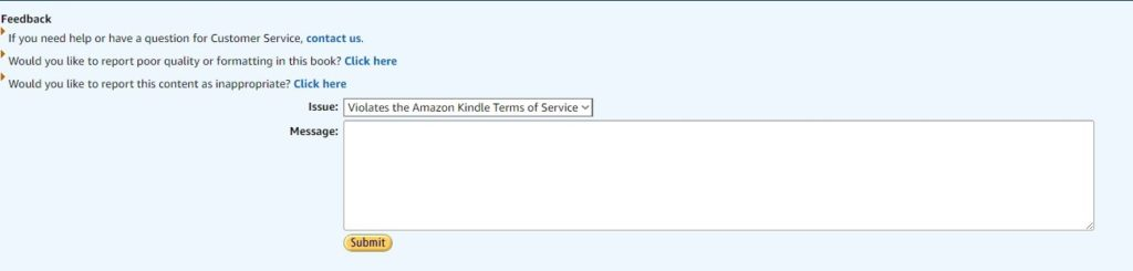 Amazon area for reporting TOS violations