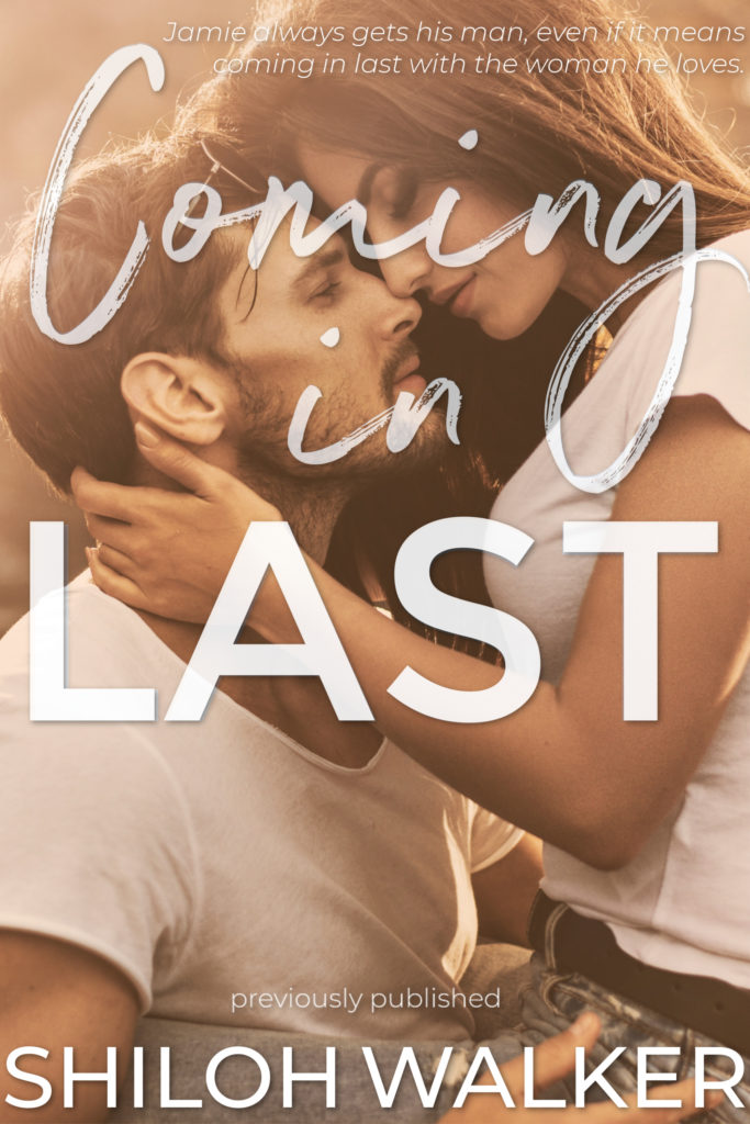 Coming in last 2019 cover, couple sitting face to face in an embrace, soft golden light filtering in