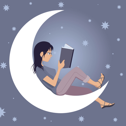 Girl Reading on a crescent moon, how scammers cheat readers