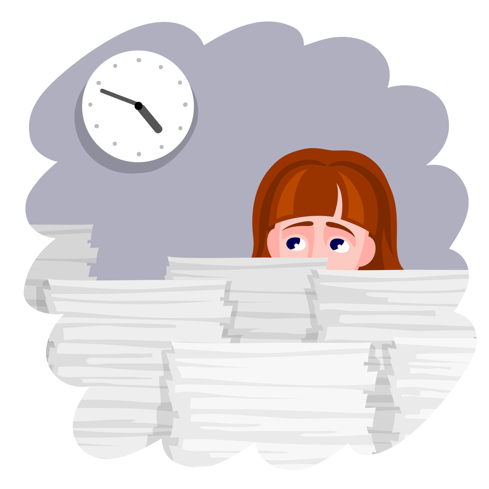 Cartoon of a woman looking at the clock with a mountain of work on the desk in front of her.