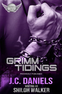 2018 Grimm Tidings cover, close-up of a man with head bowed,, hands wrapped in chains