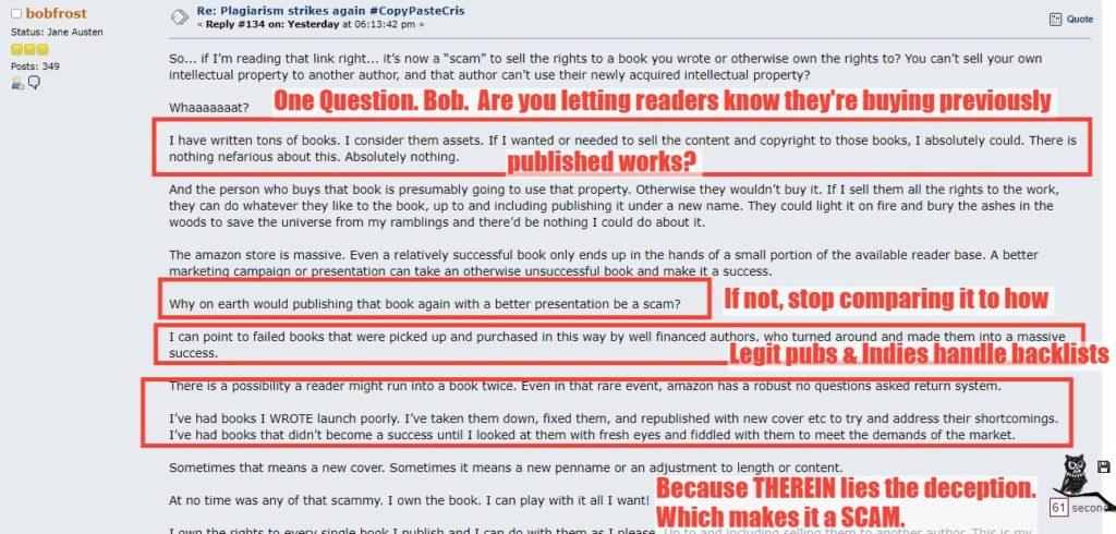 comment from bobfrost on kboards defending regurgitated books