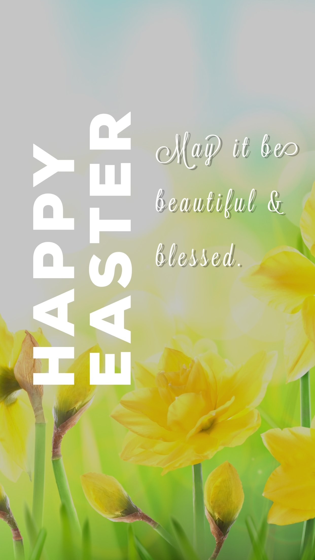 Happy Easter - image of daffodils, pretty flowers