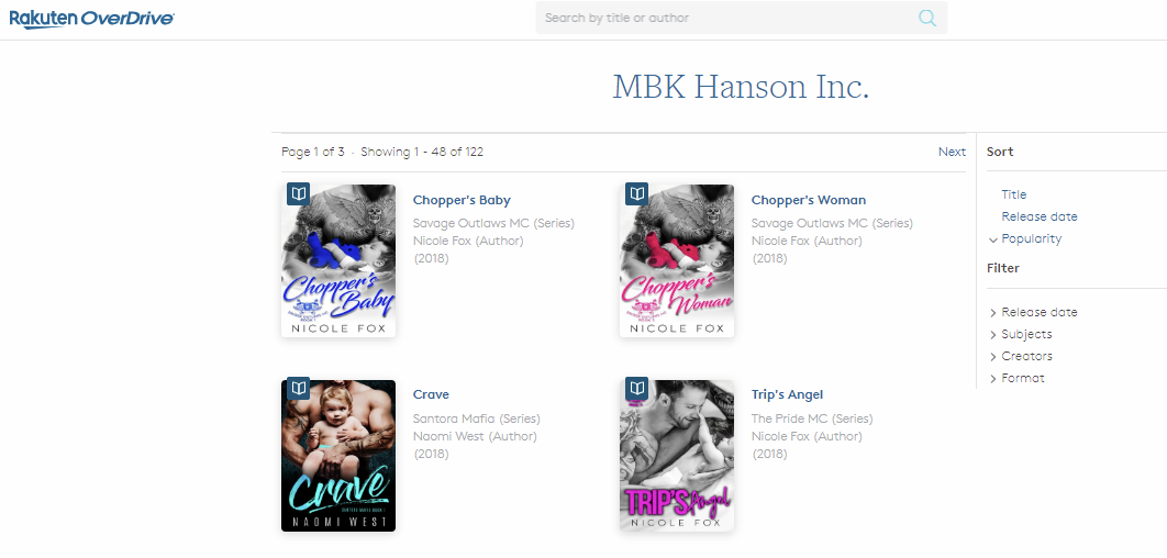 MBK Hanson Inc Publisher · OverDrive Rakuten OverDrive eBooks audiobooks and videos for libraries