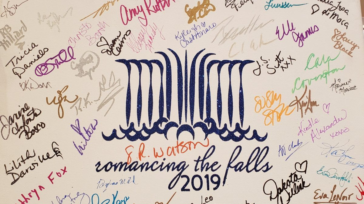 Canvas with Stylized Logo of the falls, signed by authors