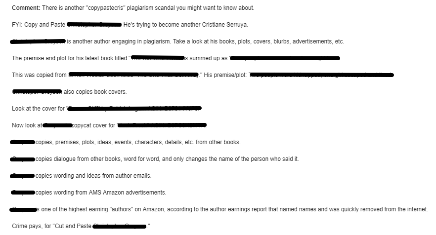 Screenshot of letter about suspected plagiarism, text is below the image