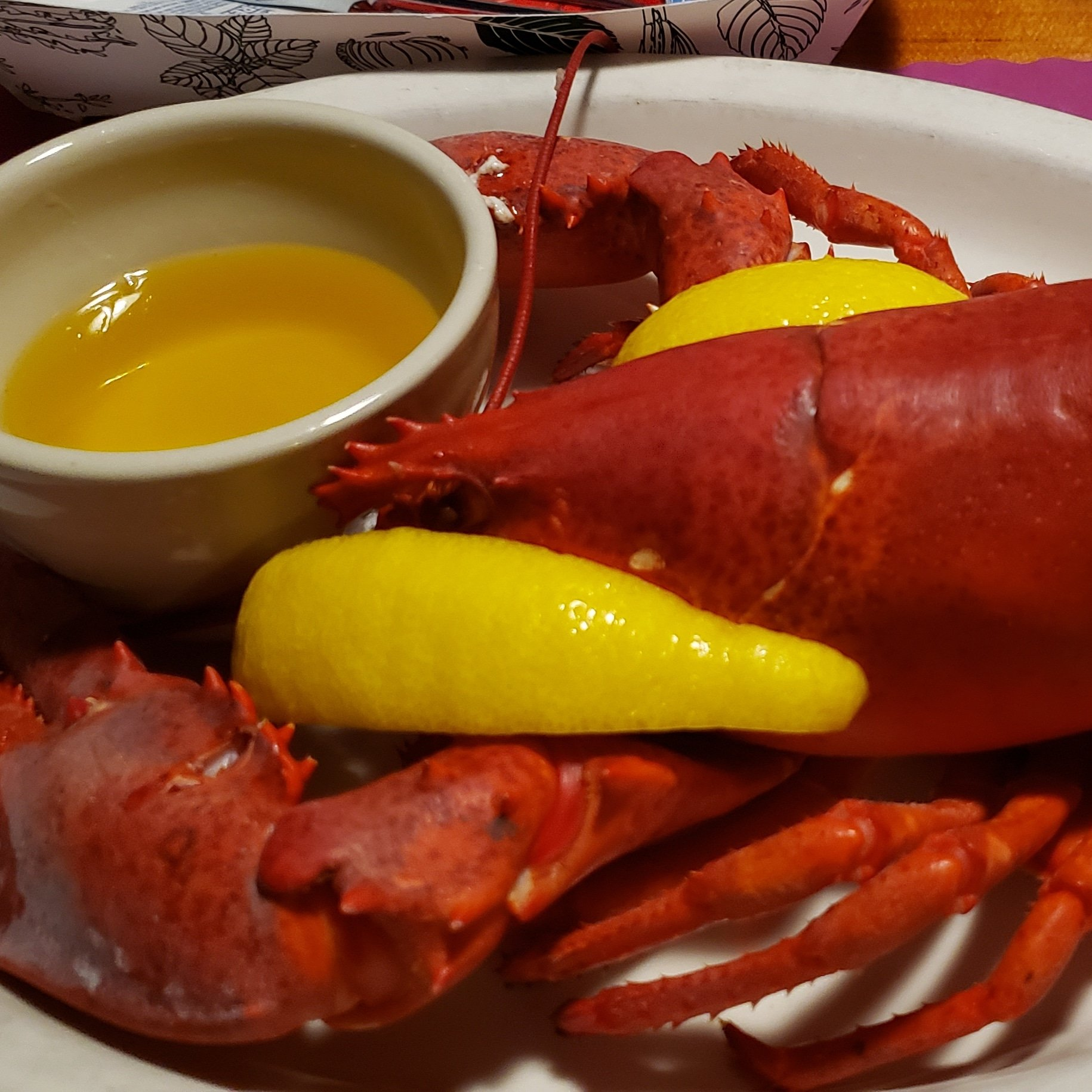 Steamed lobster with melted butter