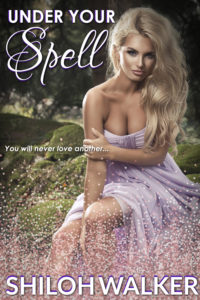 Under your spell 2019 cover - mystical, lovely blonde woman sitting in a field