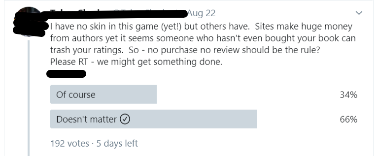 tweet suggesting authors push for a  'no purchase, no review' rule, with a poll to gauge thoughts of others.  His opinion isn't the popular one.