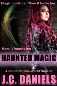 Haunted Magic, a novella in the Kit Colbana series, shows a woman with long, curling red hair in a leather jacket, looking over her shoulder at the camera. Magical elements added.