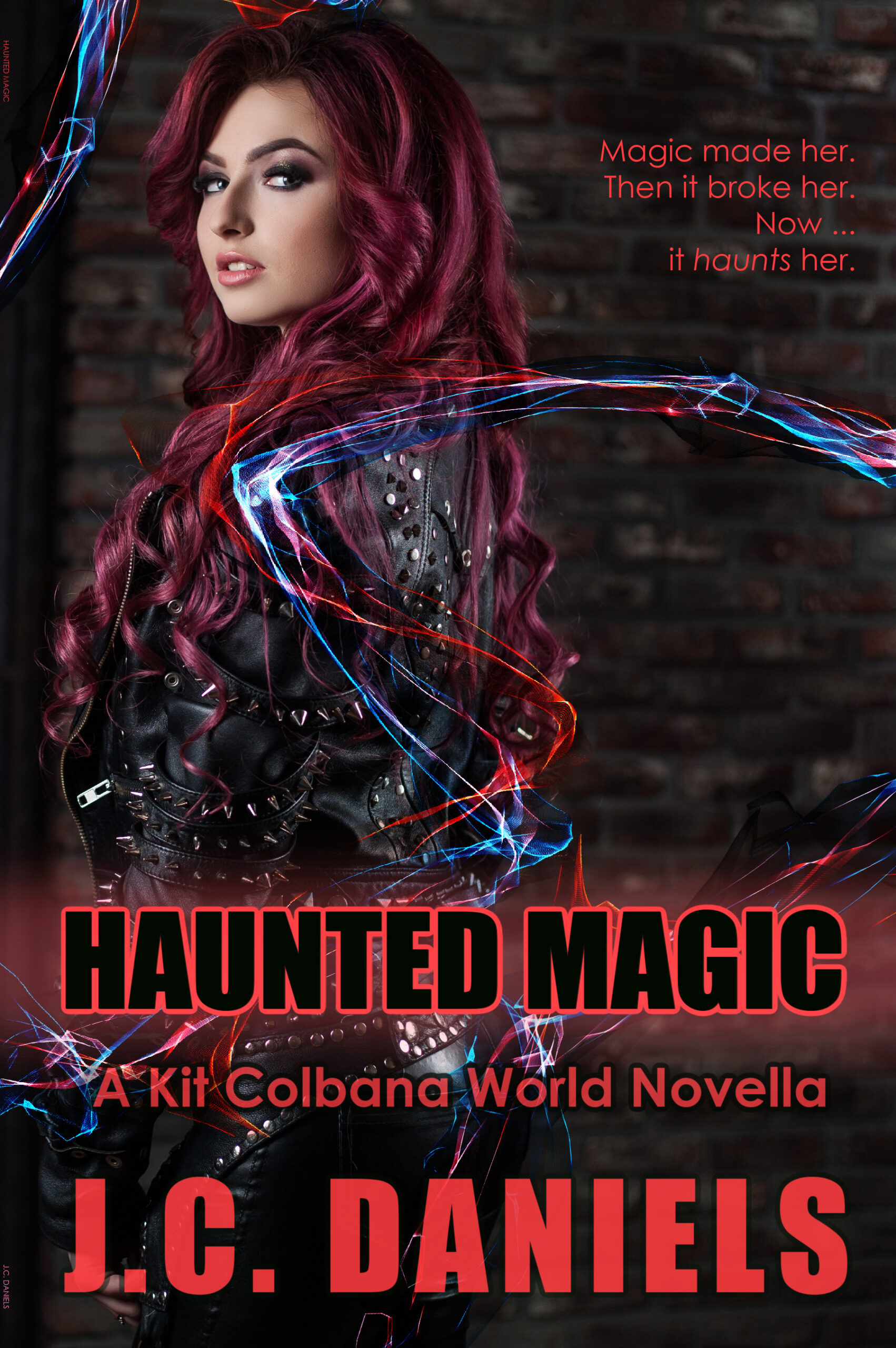 cover haunted magic -red-headed woman looking over shoulder toward screen. mystical elements.