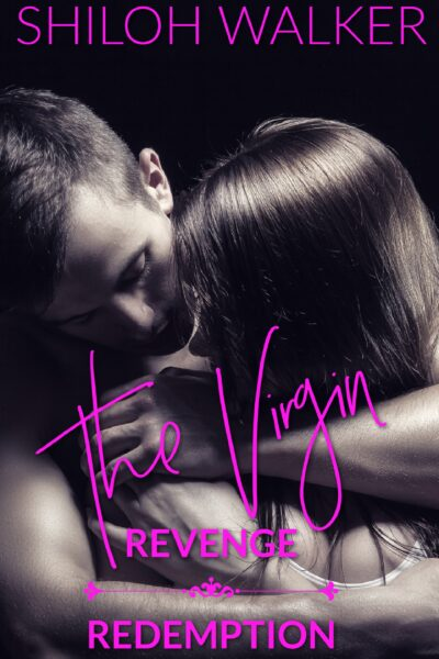 Cover for The Virgin: Revenge & Redemption. Shows a sepia image of a couple embracing, the man behind the woman with his arms wrapped around her, while she looks at him over her shoulder.